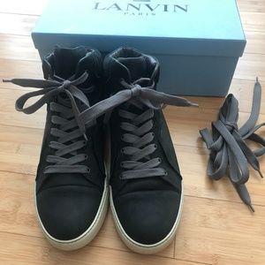 Lanvin Black Suede Mid-top Sneakers - Size 11